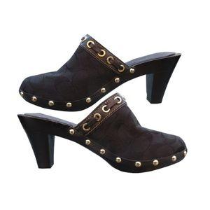 Coach│ Signature Mules Sutton Clogs Black Heels